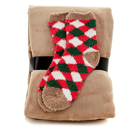 Soft & Cozy Plush Throw and Chenille Socks Set