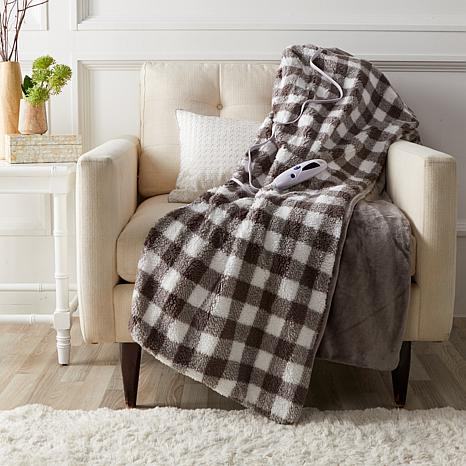 Soft & Cozy Reversible Heated Velour/Sherpa Throw