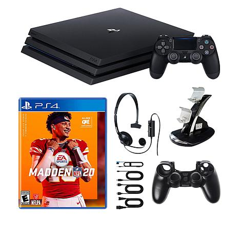 """Sony PlayStation 4 Pro 1TB Console Bundle w/""""Madden 20"""" & Accessories"""