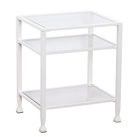 Southern Enterprises Dina Metal/Glass End Table - White