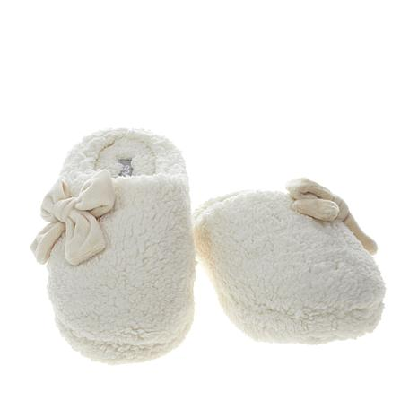 Sporto® Marshmallow Faux Sherpa Bow Slipper