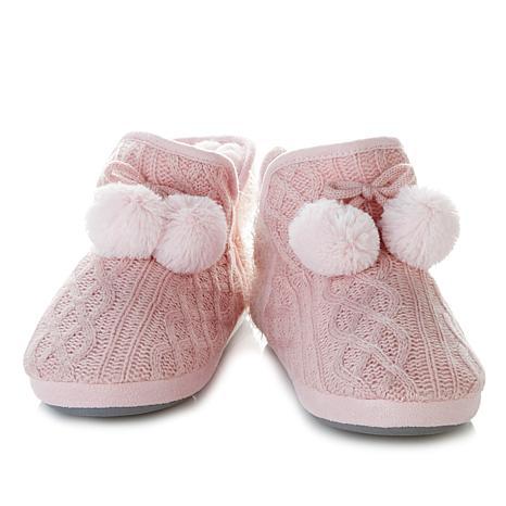 Sporto® Ruby Plush Knit Pom Pom Bootie Slipper