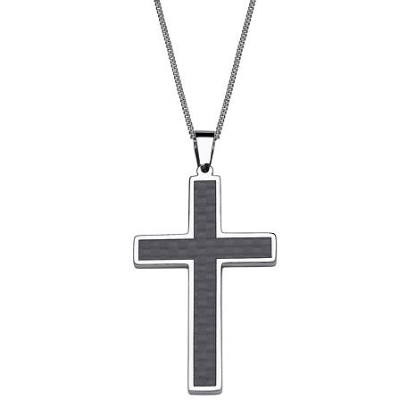Stainless steel carbon fiber engraved name large cross pendant stainless steel carbon fiber engraved name large cross pendant aloadofball Gallery