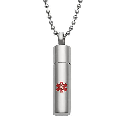 Stainless Steel Engraved Medical Alert ID Capsule Pendant with Chain
