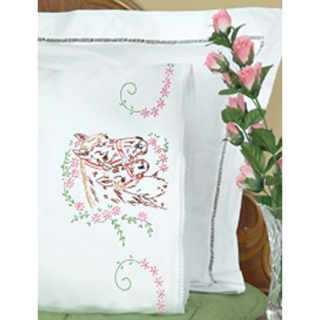 Jack Dempsey Stamped Pillowcase w//White Perle Edge 2-Pack Rose And Heart