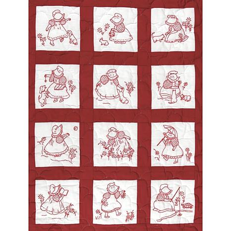 Stamped White Nursery Quilt Blocks 9-inch x 9-inch