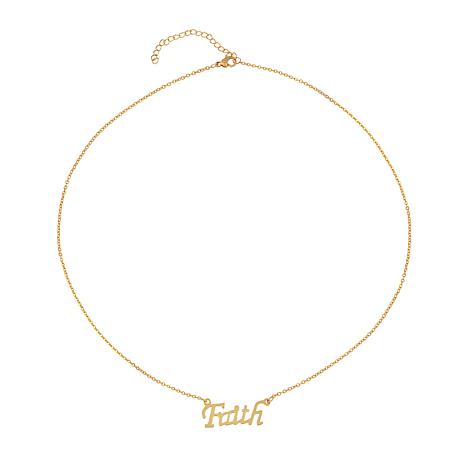 "Stately Steel 18"" Goldtone Faith Necklace"