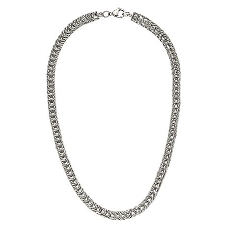 "Stately Steel 18"" Spiga Chain Necklace"