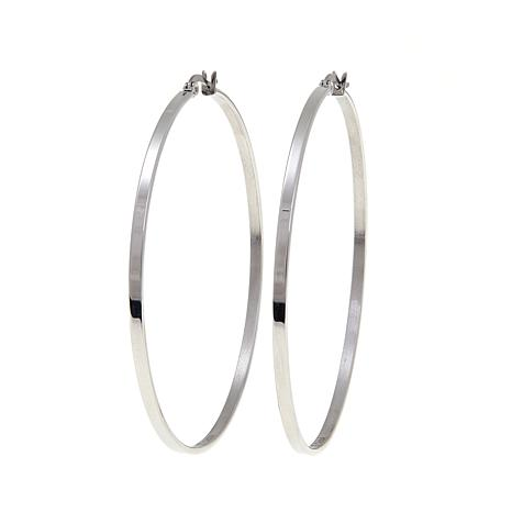 "Stately Steel 2-1/2"" Thin Hoop Earrings"