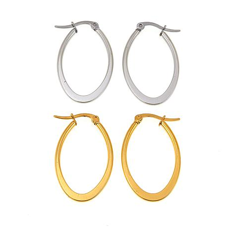 "Stately Steel 2 Pairs 1-5/8"" Oval Hoop Earrings: Goldtone & Silvertone"