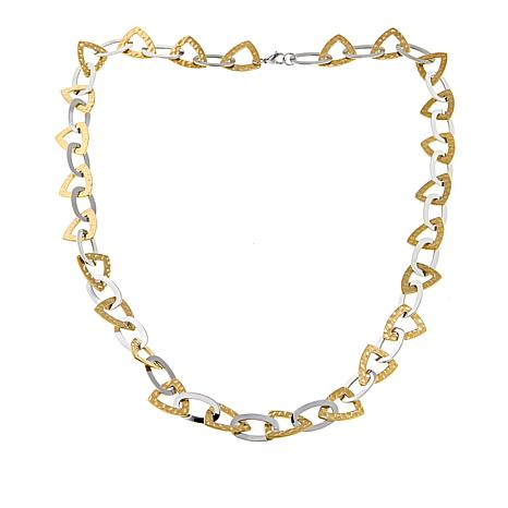 """Stately Steel 2-Tone Triangle and Oval Link 36"""" Necklace"""