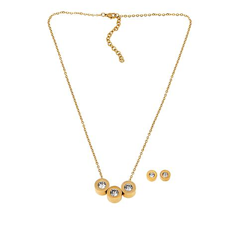 Stately Steel 3.2ctw Round CZ Studs and Triple-Circle Pendant Necklace