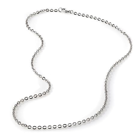 "Stately Steel 3mm 20"" Mirror Oval-Link Chain Necklace"