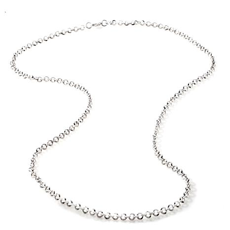 "Stately Steel 4mm 24"" Knife-Edge Rolo Chain Necklace"