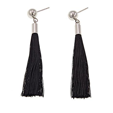 Stately Steel Ball Stud and Colored Tassel Earrings