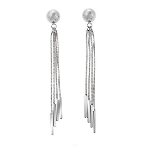Stately Steel Ball Stud Tassel Drop Earrings