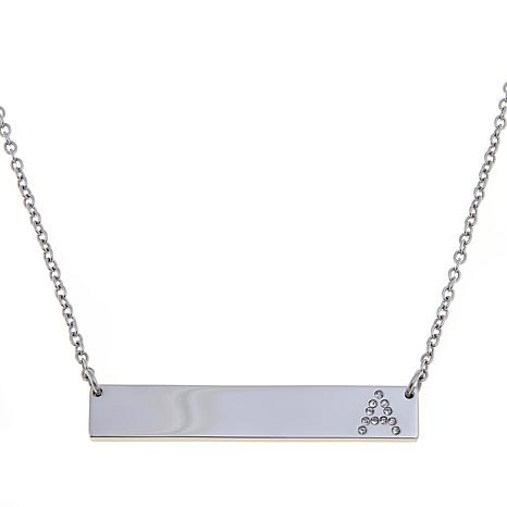 Stately Steel Bar-Drop Necklace with Crystal Initial