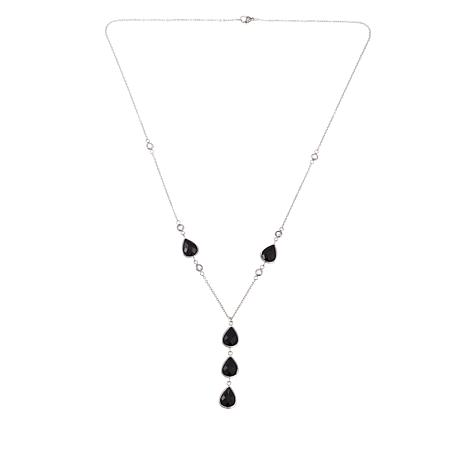 "Stately Steel Black Crystal and 1.5ctw CZ Stainless Steel 24"" Necklace"