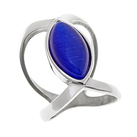 Stately Steel Blue Glass Negative-Space Ring