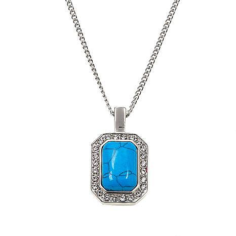 Stately Steel Blue Howlite and Crystal Pendant with Chain Necklace