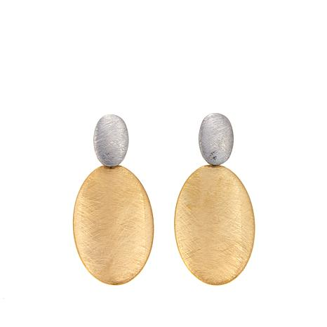 Stately Steel Brushed 2-Tone Oval Drop Earrings