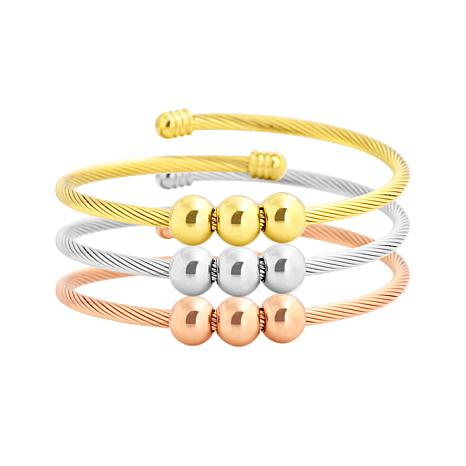 Stately Steel Cable Wire 3 Balls 3-piece Bangle Set