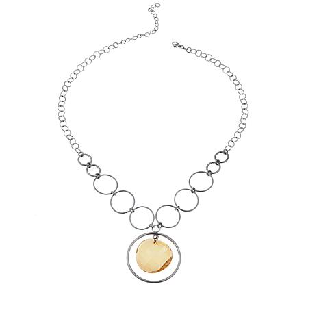 """Stately Steel Circle Chain and Glass Disc 18"""" Necklace"""