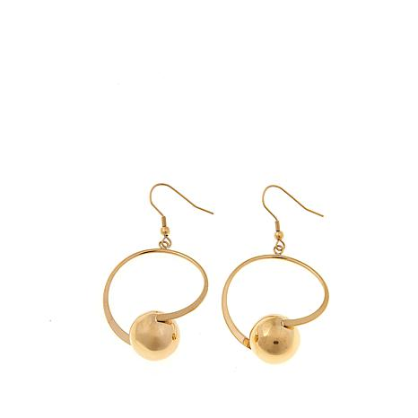 Stately Steel Circle with Ball Hoop Earrings