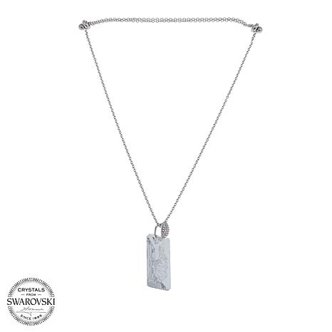 """Stately Steel Clear Crystal Rectangular-Bar Drop Pendant 23"""" Necklace"""
