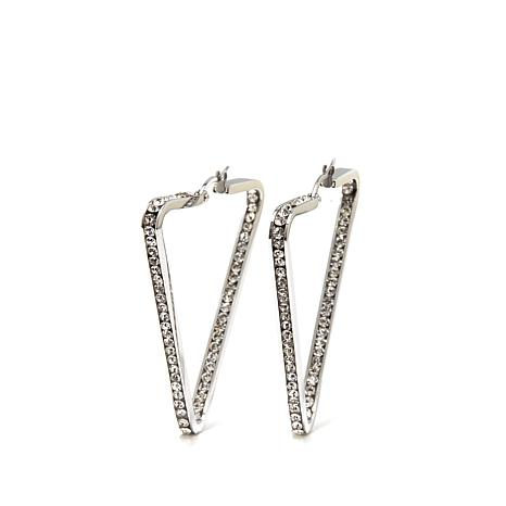 Stately Steel Crystal 1 3 4 Triangular Hoops