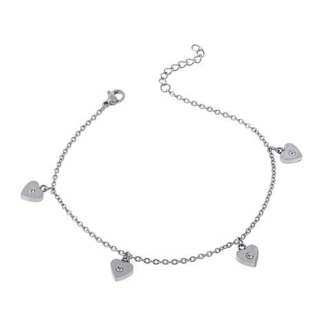 """Stately Steel Crystal-Accented Heart Drop 9"""" Anklet"""
