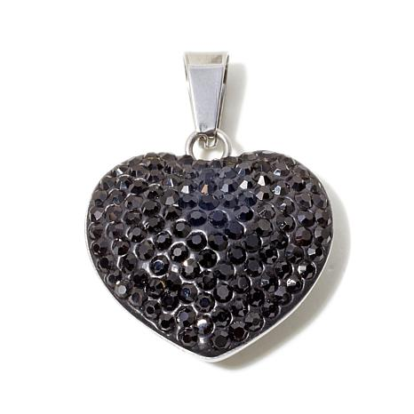 Stately Steel Crystal Heart Pendant