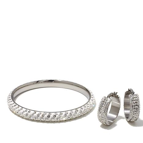 Stately Steel Crystal Hoop Earrings and Bangle Set