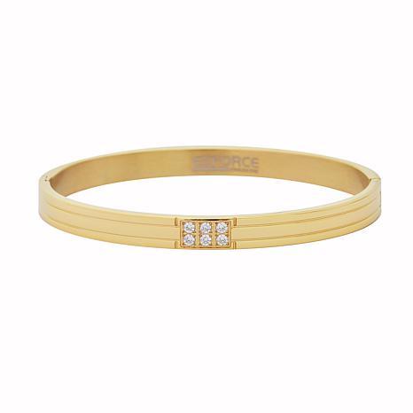 Stately Steel Cubic Zirconia Hinged Oval Bangle Bracelet