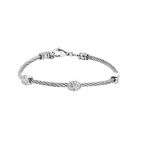 Stately Steel Cubic Zirconia Pavé Station Cable Wire Bracelet