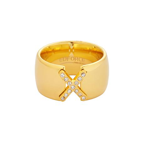 Stately Steel Cubic Zirconia X-Design Ring