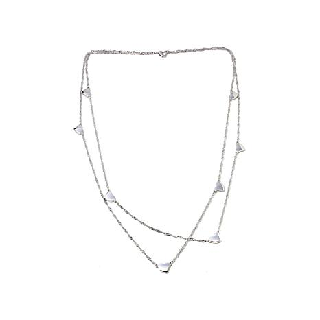 Stately Steel Double-Strand Twist-Chain Heart Necklace