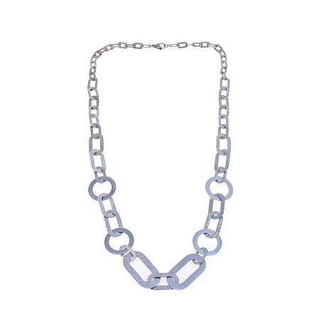 "Stately Steel Geometric Mixed Shape 36"" Necklace"
