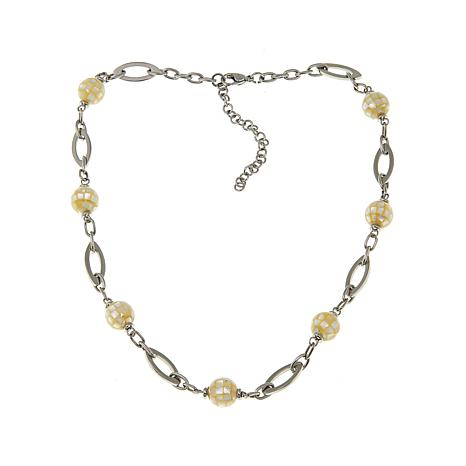 Stately Steel Glass and Mother-of-Pearl Bead Necklace