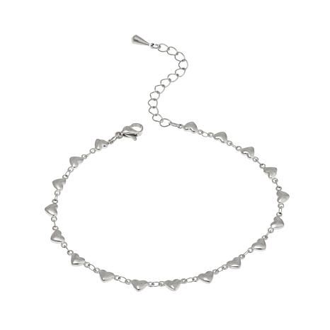 "Stately Steel Heart Station Stainless Steel 8 5/8"" Anklet by Stately Steel"