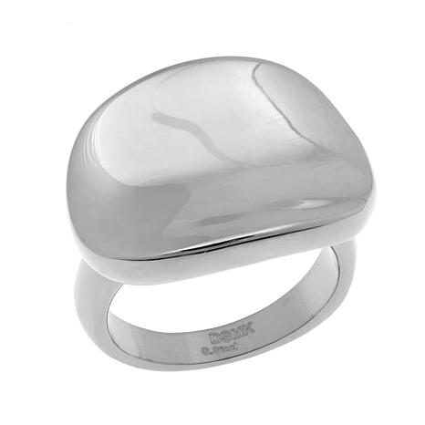 Stately Steel Highly Polished Curved Ring
