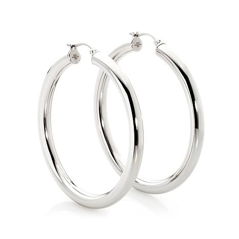 Stately Steel Hollow Round Polished Hoop Earrings