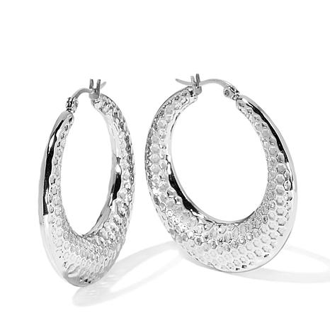 Stately Steel Honeycomb Textured Hoop Earrings