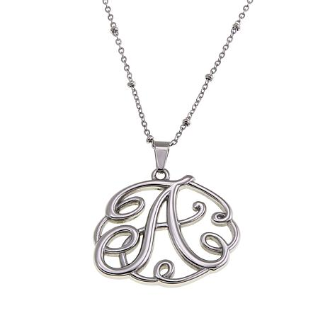 "Stately Steel Initial Pendant with 18"" Beaded Chain"