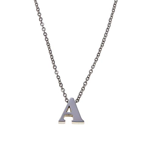 Stately Steel Initial Pendant with Chain