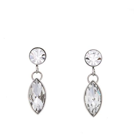 Stately Steel Marquise And Round Crystal Stainless Drop Earrings