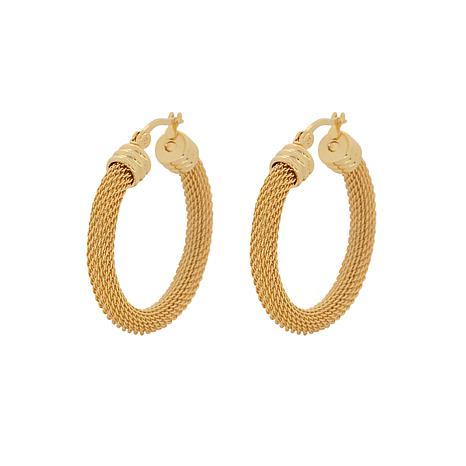"""Stately Steel Mesh Link Hoop Earrings - 1-5/16"""""""