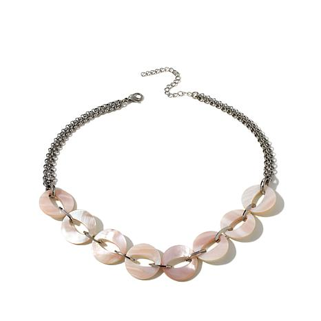 "Stately Steel Mother-of-Pearl Disc 17"" Rolo Necklace"