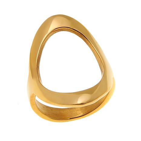 Stately Steel Open Oval Negative-Space Ring