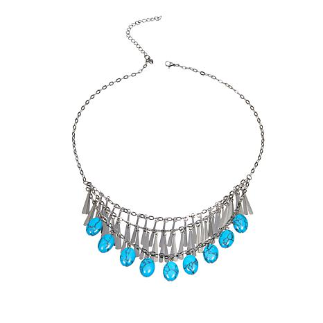 "Stately Steel Oval Howlite 3-Tired Fringed 19-1/2"" Necklace"